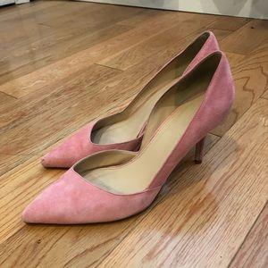 Jcrew sz7 pink suede d'orsay heels